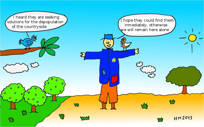 Cartoon about the Countryside Depopulation