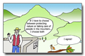 Cartoon: Environmental preservation and quality of life in the mountain